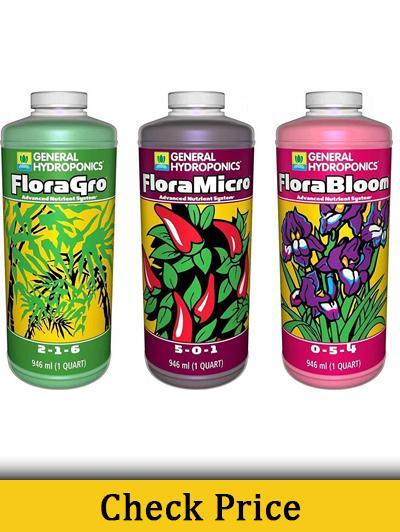 General Hydroponics Flora Grow, Bloom, Micro Combo Fertilizer set